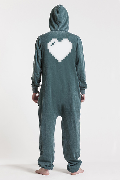 Burned Green, Heart, Onesie - 4849