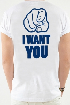 T-Shirt White, I Want You - 1962