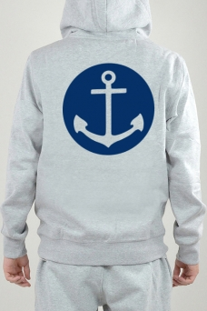 Hoodie Grey, Anchor - 2418