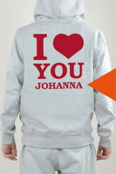 Hoodie Grey, I Love You - 2598