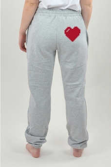 Sweatpants Grey, Heart - 3018