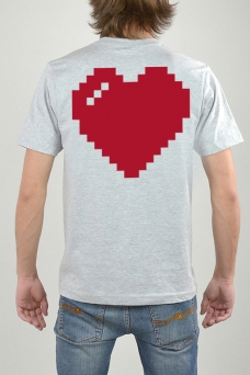 T-Shirt Grey, Heart - 3182