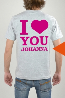 T-Shirt Grey, I Love You - 3273