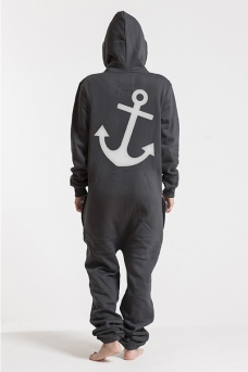 Comfy - Dark Grey & Silver, Anchor, Onesie - 5384